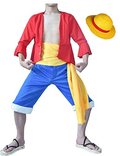 I TRUE ME Adult Anime Monkey D. Luffy Cosplay Red Outfit and Yellow Straw Hat Cap Cosplay Uniform Doll & Animation,S]()