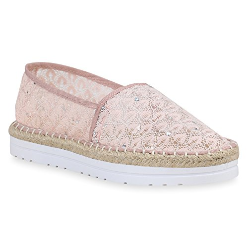Stiefelparadies Damen Sneaker Slip Ons mit Plateau Glitzer Flandell  39 EUSchwarz Blumen Autol