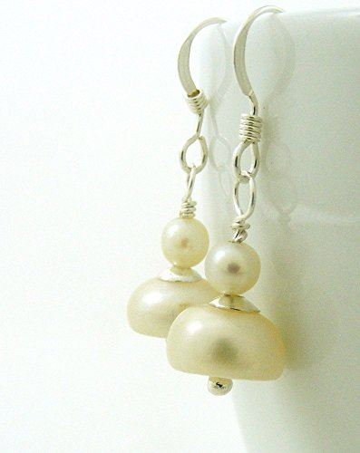 Cultured Freshwater Pearl Drop Earrings with Sterling Silver Ear Wires (Oyster Costume)