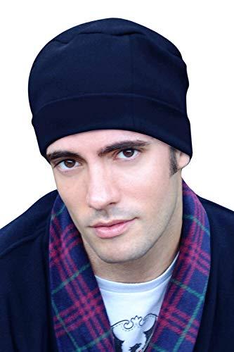 Mens Sleep Cap - 100% Cotton Night Cap for Men - Sleeping Hat Navy