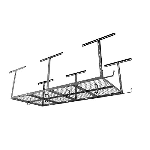 FLEXIMOUNTS 4x8 Overhead Garage Storage Rack w/Hooks Adjustable Ceiling Storage Racks, 96