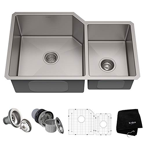 (KRAUS Standart PRO 32-inch 16 Gauge Undermount 60/40 Double Bowl Stainless Steel Kitchen Sink, KHU123-32)