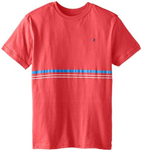 Tommy Hilfiger Big Boys' Easton Stripe Tee, Bleached Red, Medium