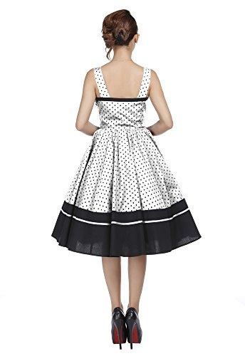 Rockabilly Dot Size Dress Plus White Polka Pinup Black Flirty Retro x778A