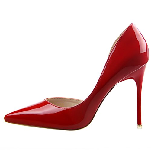 HooH Women's Sexy Pointed Toe D'Orsay Stiletto Dress Pump Red KB2dGRpNLh