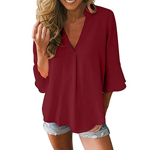 (iDWZA Women's Fashion Loose Solid Color Three Quarter Flare Sleeve Top Blouse (L,Wine Red))