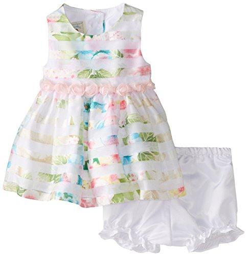 Marmellata Baby-Girls Newborn Floral Burnout Stripe Dress, Multi, 0-3 Months