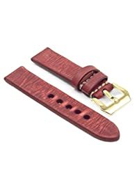 StrapsCo 18mm Red Thick Distressed Vintage Leather Watch Band w/ Yellow Gold Pre-V Buckle