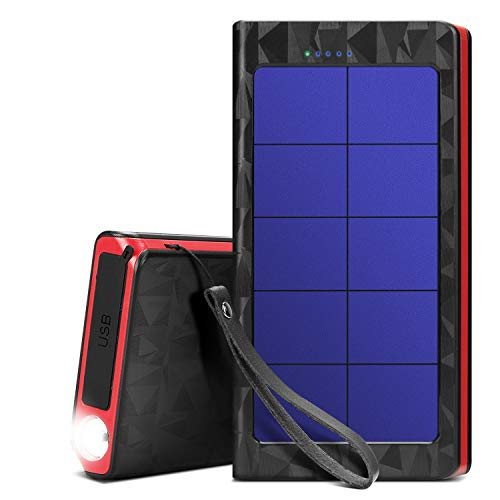Solar Power Bank,20000mAh Portable Charger with Quick Charge Type C & Micro Inputs,Solar Charger with 3 Outputs and LED Flashlight & Strobe Light,IPX5 Waterproof,Suitable for Smartphones and More