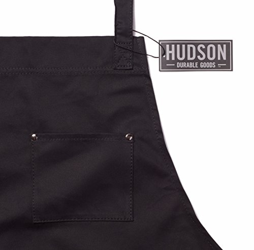 Hudson Durable Goods - Professional Grade Chef Apron for Kitchen, BBQ, and Grill (Black) with Towel Loop + Tool Pockets + Quick Release Buckle, Adjustable M to XXL