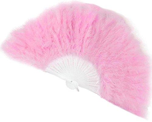 BleuMoo Soft Fluffy Lady Burlesque Wedding Hand Fancy Dress Costume Dance Feather Fan (Pink)