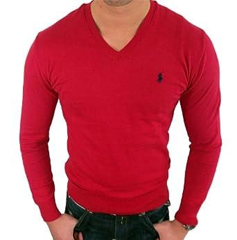 Ralph Lauren Polo Pull en col V - Couleur Rouge - Logo Small Pony noir dc17566f80a7