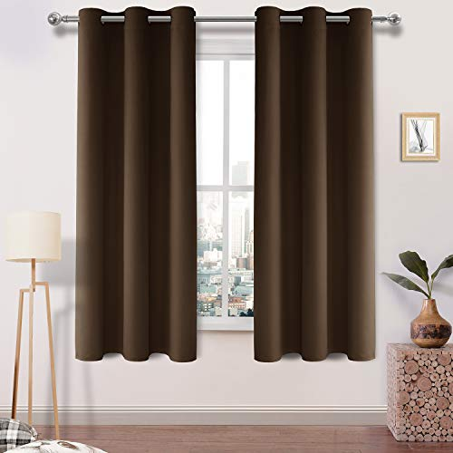 - DWCN Brown Blackout Curtains Thermal Insulated Noise Reducing Room Darkening Grommet Window Curtains for Bedroom 42×72 Inch Length, 1 Panel