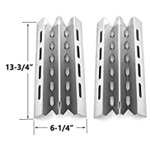 2 Pack Stainless Steel Heat Plate Replacement for select Broil King 9865-24, 9865-27, 9865-54, 9865-57, 9865-74, 9865-77, 986784, 986784c, 986787, 986787c, 9869-84r, 9869-87r, Broil-Mate, Huntington and Sterling Gas Grill Models