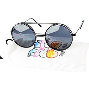 V135-vp Style Vault Round Flip up Django Steampunk Metal Sunglasses (C012 Black-dark, uv400)
