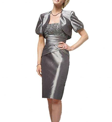 Damen Kurz Silber Abendkleider Taft Partykleider Charmant Festlich Silber Rock Knielang Brautmutterkleider qnwpvdv8xU