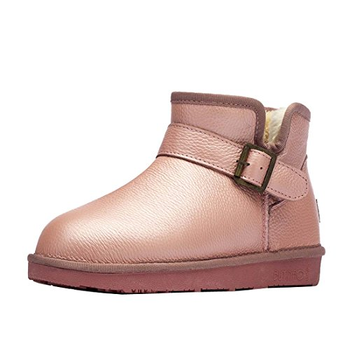 HooH Women's Leather Metal Buckle Snow Boots 5865 Pink ywhOsCFxq