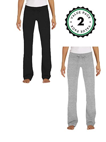 Juniors Lounge Pants, French Terry Cut / Jogger Pants - 2 Pack (Small, 1 Black / 1 Heather Grey)
