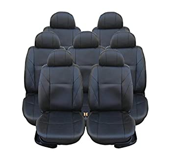 FULL SET BLACK LEATHER LOOK 7X SEAT COVERS