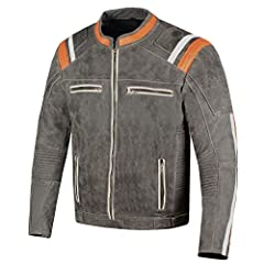 Made of 1.2-1.3 mm premium cowhide distress leather. Multiple large inside pockets.  Five pieces of ARMOR comes pre-installed in this jacket.  Elastic Panels for perfect. Side waist adjustments. Zippered Pockets provides excellent storage opt...