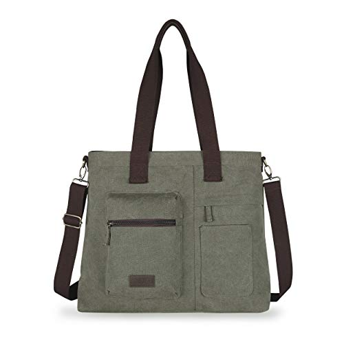 IDAILU Large Canvas Tote Bag Casual Daily Cross-body Hobo Handbags with Detachable Shoulder Strap (Army green)