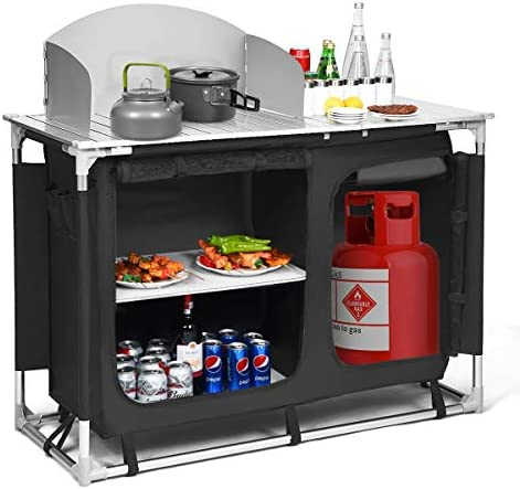 Giantex Portable Camping Kitchen Table, Camping Grill Table w Windscreen Storage Organizer, Outdoor Kitchen Cook Station with Basin for BBQ, Party, Picnics, Backyards, BBQ Table