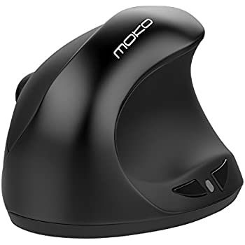Wireless Vertical Ergonomic Mouse, MoKo Portable Universal 2.4G Wireless Optical Mice with 3 Adjustable DPI Levels 800 / 1200 /1600DPI for Notebook, Computers, Laptops, PC, 6 Buttons - Black