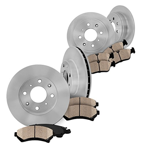 FRONT 256 mm 4 Lug + REAR 226 mm 4 Lug Premium OE [4] Rotors + [8] Quiet Low Dust Ceramic Pads Kit CK002620