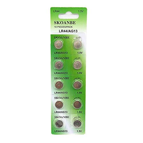 SKOANBE 10PCS AG13 LR44 303 A76 357 SR44 1.5V Battery Button Coin Cell Batteries