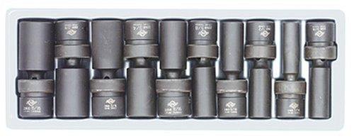 Sunex 2659 10 Piece 1/2'' Drive Universal Deep SAE Impact Socket Set