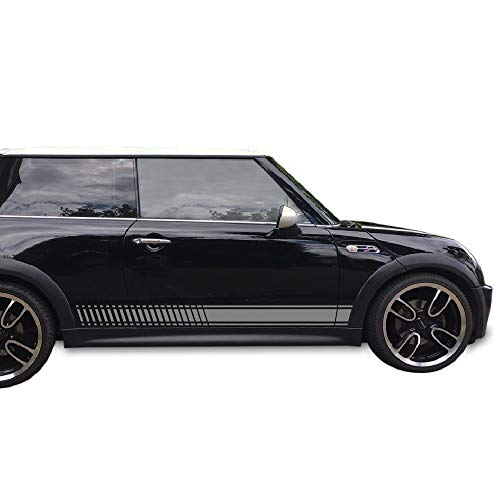 Bubbles Designs 2X Decal Sticker Vinyl Side Racing Stripes Compatible with Mini Cooper Hatch Hardtop 2001-2016 JCW
