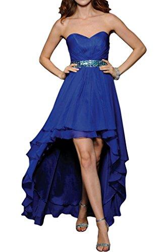 ivyd ressing Mujer Fashion Forma de Corazón piedras Cinturón Hi-Lo Fiesta Vestido Prom vestido fijo para vestido de noche azul real