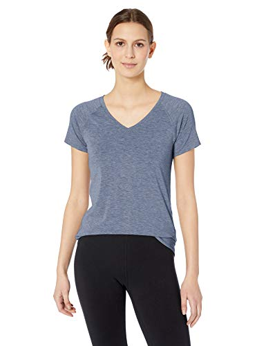 Amazon Essentials Women's Studio Short-Sleeve Lightweight V-Neck T-Shirt, -night shadow blue, X-Large
