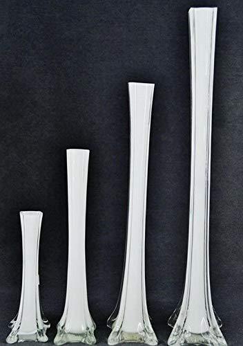 (Mikash 12pc Wedding Eiffel Tower vase Centerpiece Decorations Clear White Black-6 Size | Model WDDNGDCRTN - 23925 | 20 White)