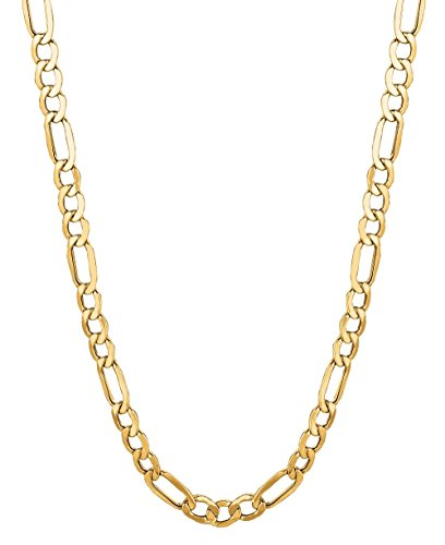 14kt Gold Curb Link Necklace - 14Kt Solid Yellow Gold Classic Figaro Lite Curb Link Chain/Necklace 4.5 Mm (Lfig100