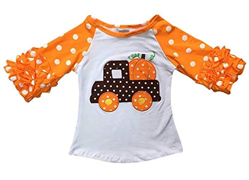 Little Girls' Halloween Pumpkin Truck Polka Party Holiday Raglan Top T-Shirt Tee Orange 5 L (P201727P)