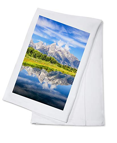 Grand Teton National Park, Wyoming - Mountain and Reflection - Photography A-94646 (100% Cotton Kitchen Towel)