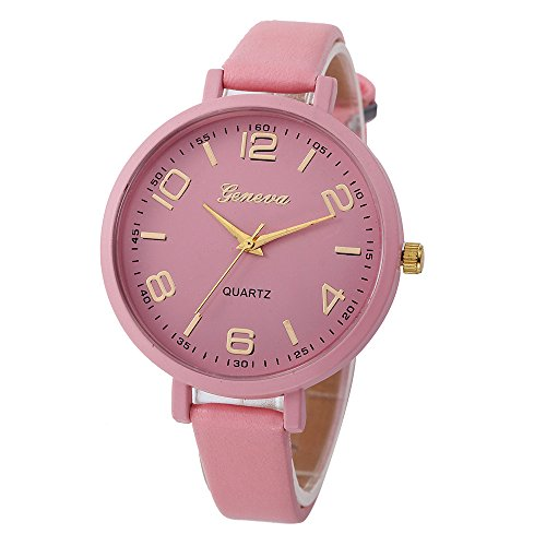 Promise Jewelry, Muranba Women Casual Checkers Faux Leather Quartz Analog Wrist Watch (Pink) ()