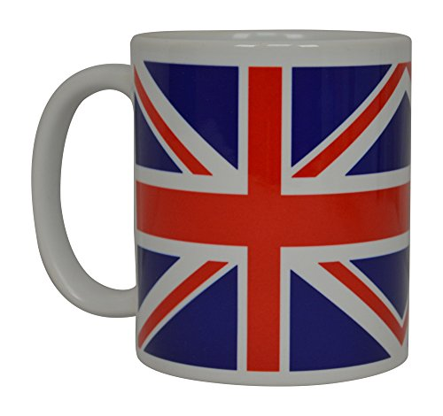 (Rogue River Tactical Best Coffee Mug UK Union Jack British Flag Novelty Cup Great Gift Idea For Men Women United Kingdom,White )