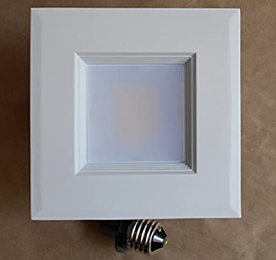 """4"""" Recessed Can Down Light DIMMABLE LED RETROFIT KIT SQUARE Step White Baffle 120V 4000K"""