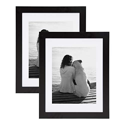 DesignOvation Museum Wooden Traditional Picture Frame Set with Mats for Customizable Wall Display, 14×18 matted to 11×14, Black, 2 Pack Review