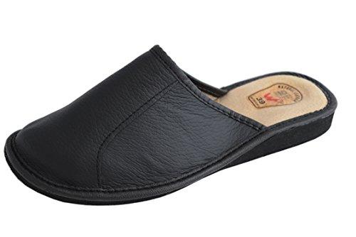 Natleat Slippers womens slippers 59 - Zapatillas de estar por casa de Piel para mujer Negro - negro