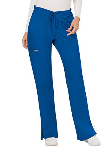 WW Revolution by Cherokee Women's Mid Rise Moderate Flare Drawstring Pant Petite, Royal, XX-Small Petite (Flare Uniform Cherokee)