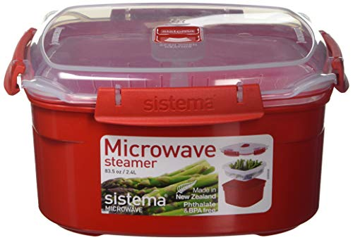 Sistema Microwave Collection Steamer, Medium, 83.5 oz./2.4 L, Red (Microwave Pot Steamer)