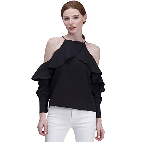 BELLA PHILOSOPHY Women's Chiffon Blouse Shirt with Halter Cami Off Shoulder Ruffles Flounce Long Sleeve Details … (XL, Black)