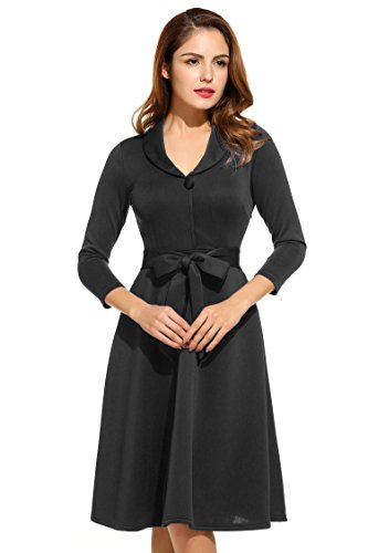 HOTOUCH Women's Vintage 1950s Style 3/4 Sleeve Flare A-line Dress