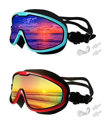(MOTOEYE Swim Goggles Pack of 2,One-Body Big Mirrored Lens No Leaking Swimming Goggle for Adults Men,Women,Youth & Early Teens,Anti-Fog & UV Protection)