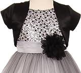 Dreamer P Big Girls' Satin Short Flower Girl Bolero Jacket Cover up Shrug Cardigan USA Black 14 (K35D5)