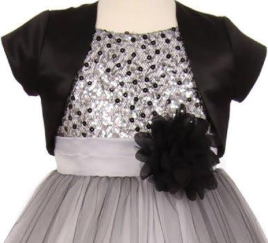 Big Girls' Satin Short Flower Girl Bolero Jacket Cover Black 8 (K35D5) (Brooch Bolero)
