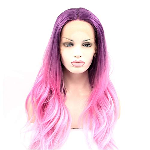 Europe and America Wig, Chemical Fiber Front Lace Headgear European And American Popular Wig Gradient Purple Pink High Temperature Silk Realistic Wig Night Club Main 1102 -
